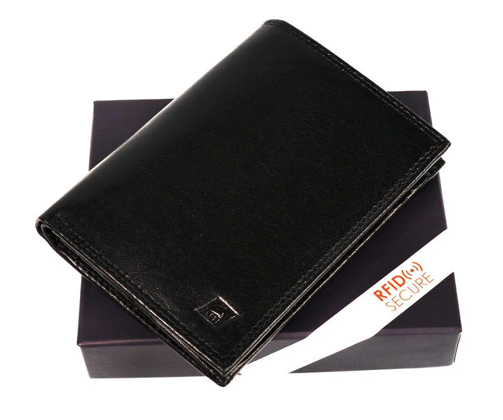 Uniwersalny portfel skórzany kominek, piekiełko RFID STOP