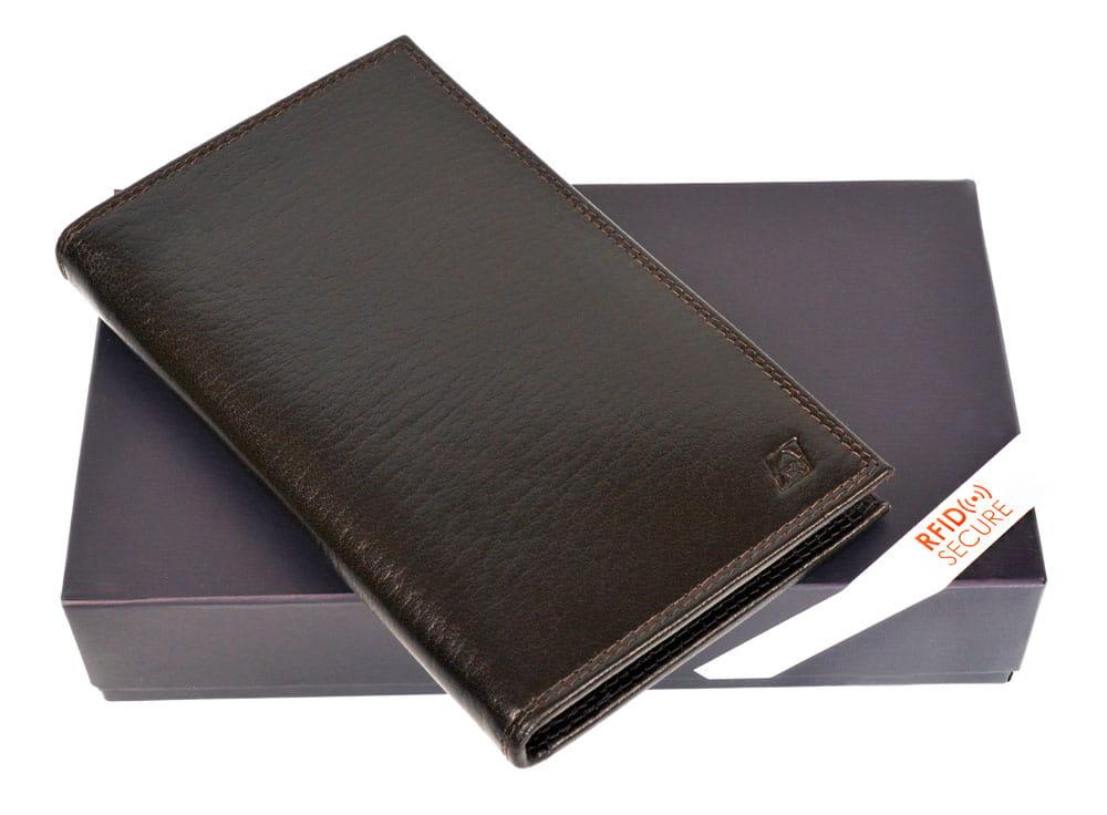 Wizytownik, skórzane etui na karty, wizytówki i banknoty z ochroną RFID